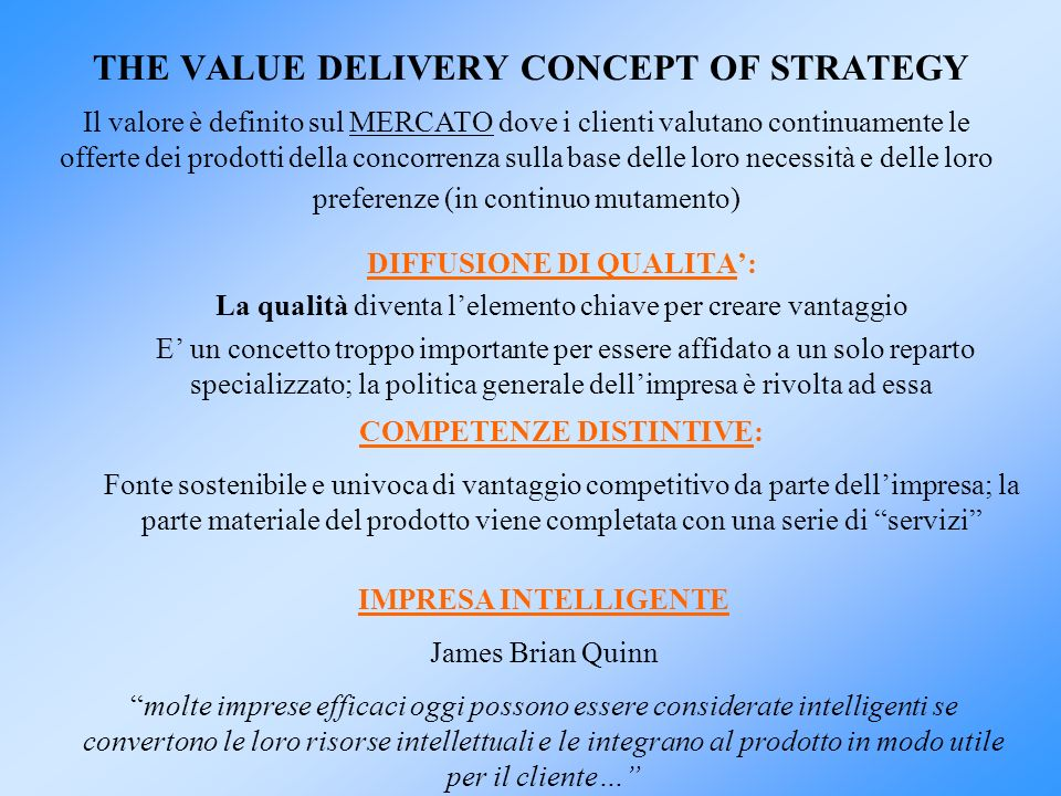 THE VALUE DELIVERY CONCEPT OF STRATEGY