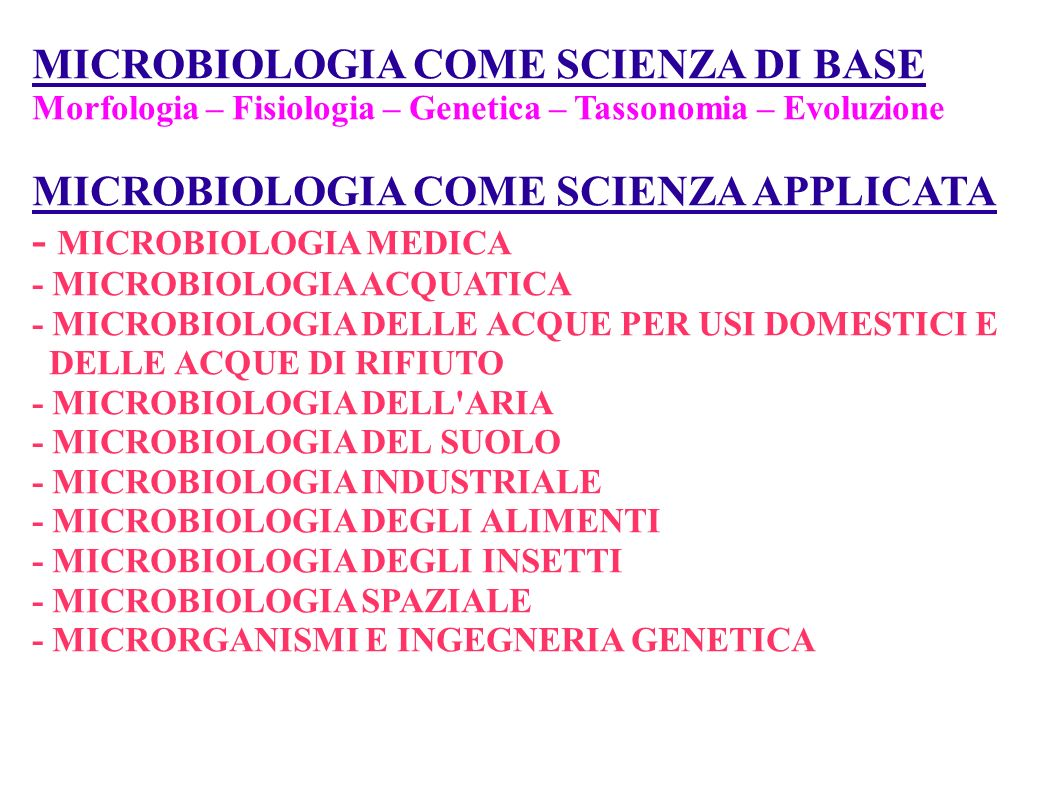 MICROBIOLOGIA COME SCIENZA DI BASE