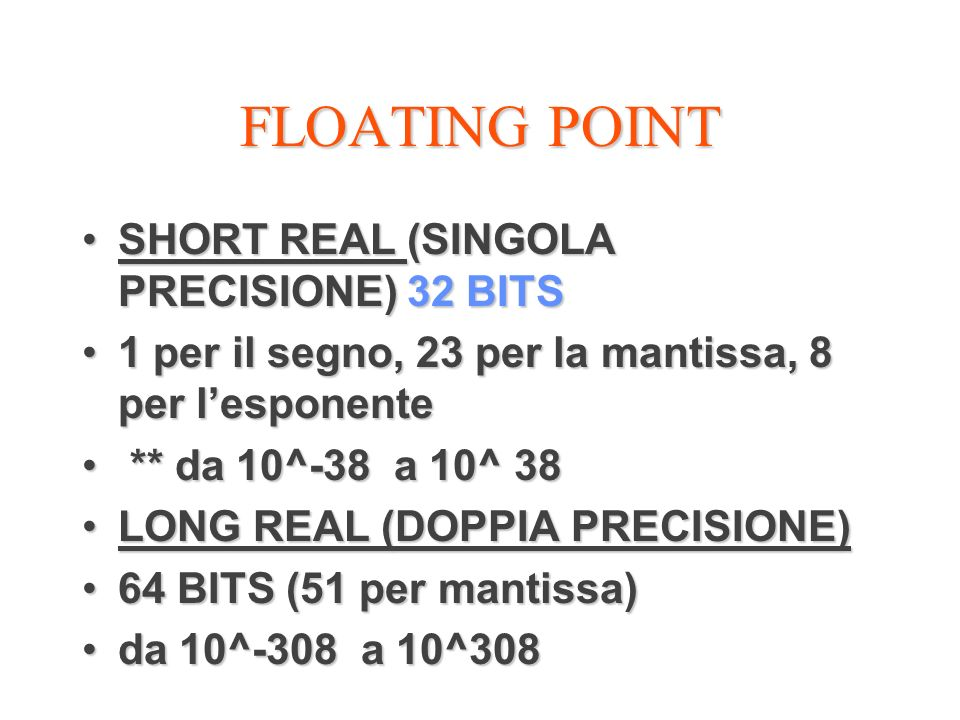 FLOATING POINT SHORT REAL (SINGOLA PRECISIONE) 32 BITS