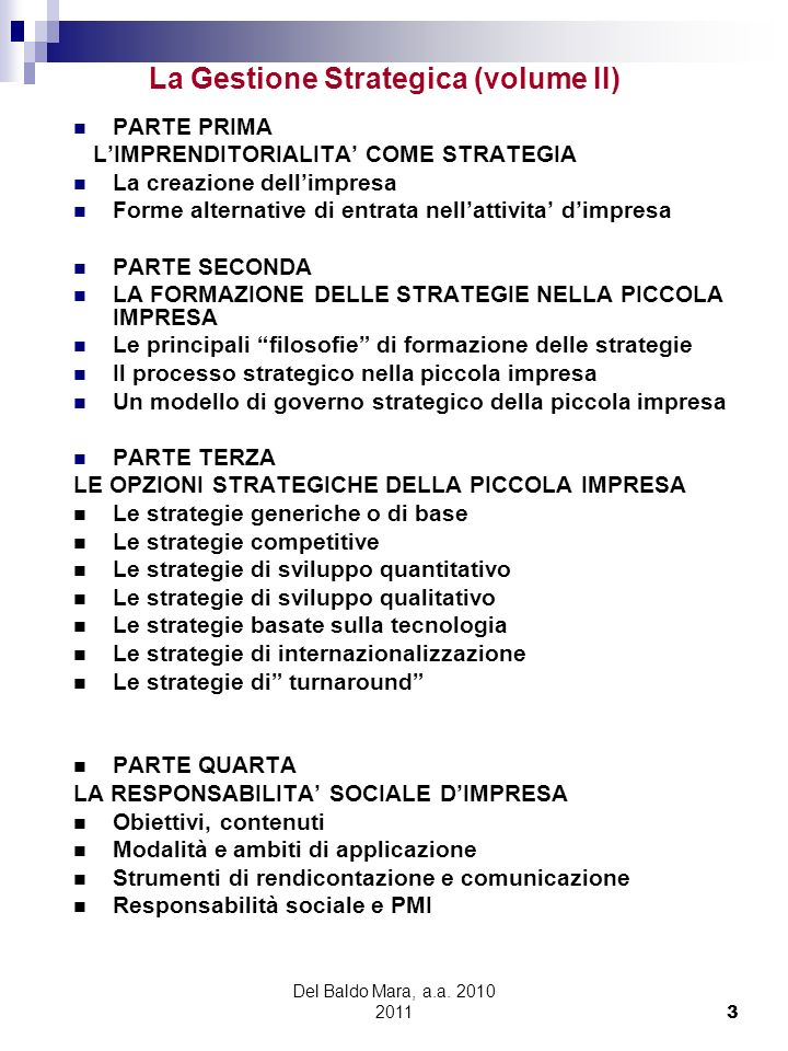 La Gestione Strategica (volume II)