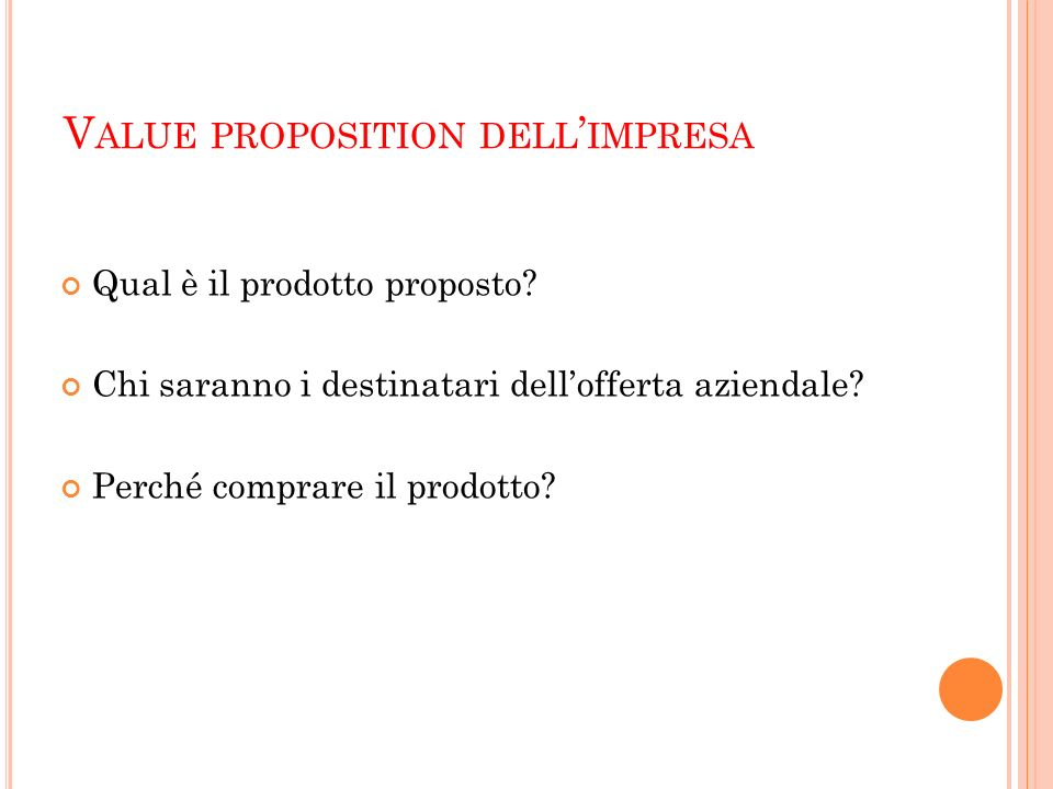 Value proposition dell'impresa