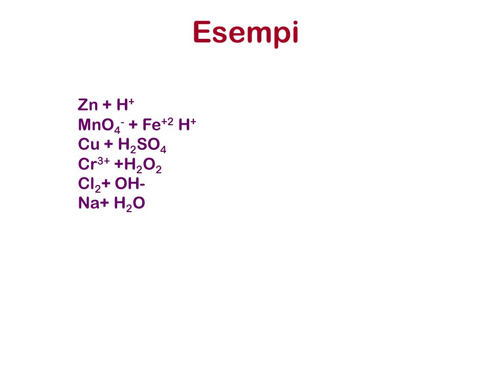 Esempi Zn + H+ MnO4- + Fe+2 H+ Cu + H2SO4 Cr3+ +H2O2 Cl2+ OH- Na+ H2O