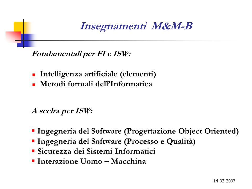 Insegnamenti M&M-B Intelligenza artificiale (elementi)