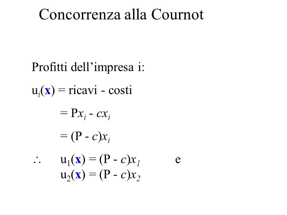 Concorrenza alla Cournot