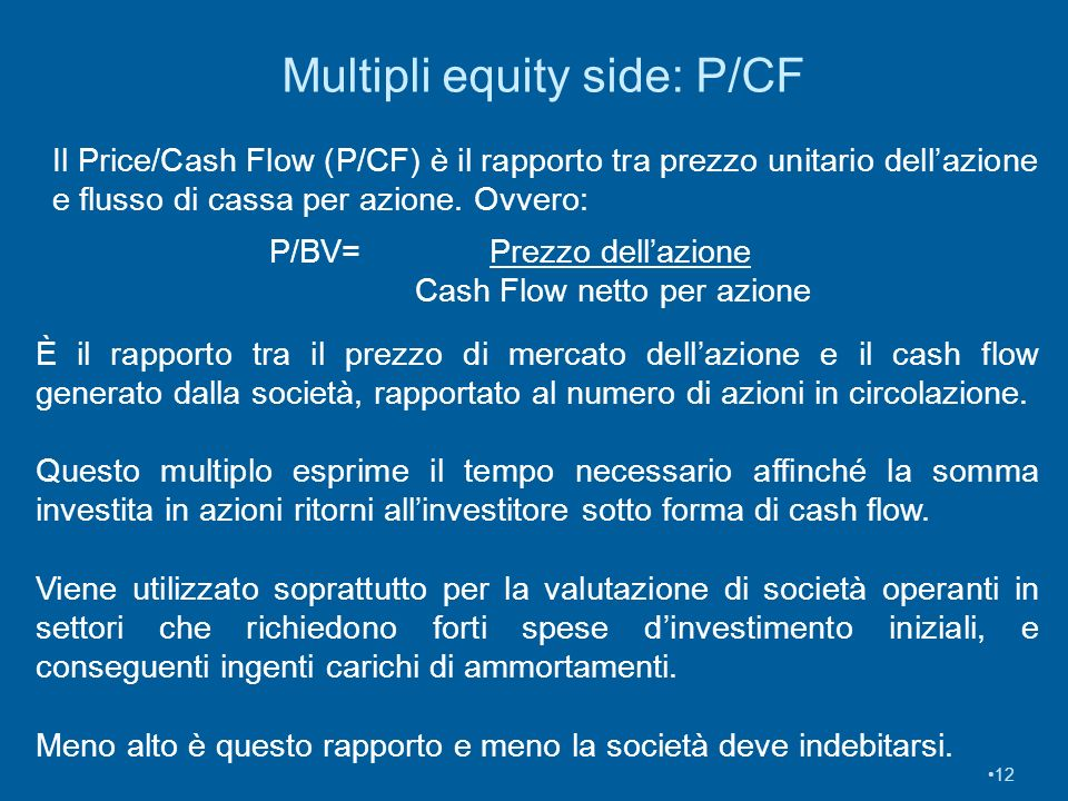 Multipli equity side: P/CF