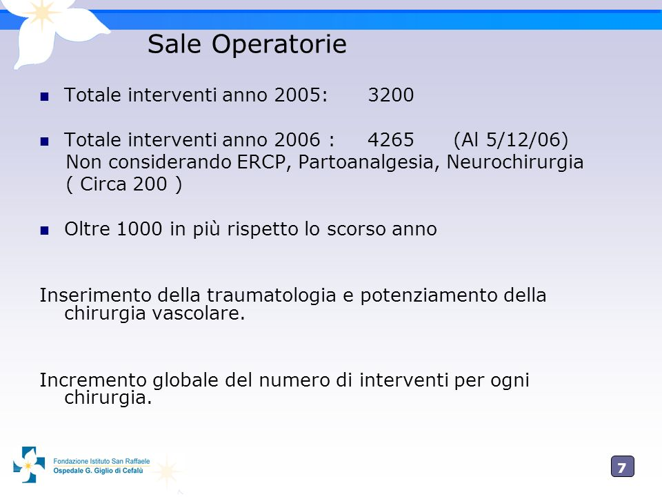 Sale Operatorie Totale interventi anno 2005: 3200