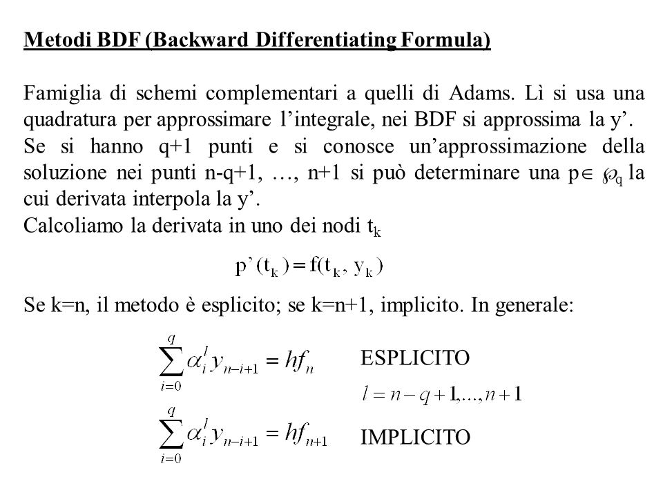 Metodi BDF (Backward Differentiating Formula)