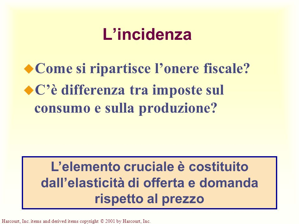 L'incidenza Come si ripartisce l'onere fiscale