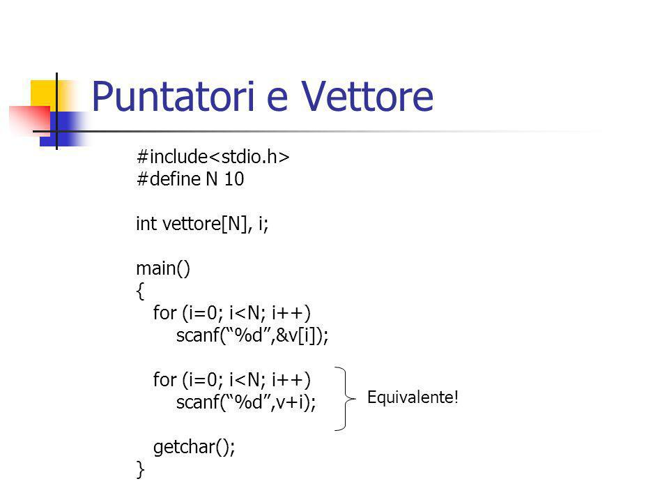 Puntatori e Vettore #include<stdio.h> #define N 10