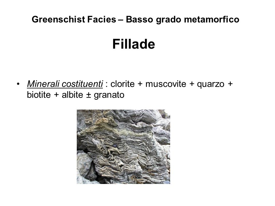 Greenschist Facies – Basso grado metamorfico