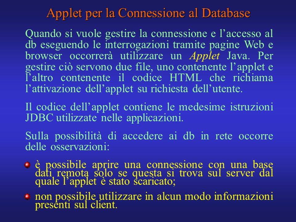 Applet per la Connessione al Database