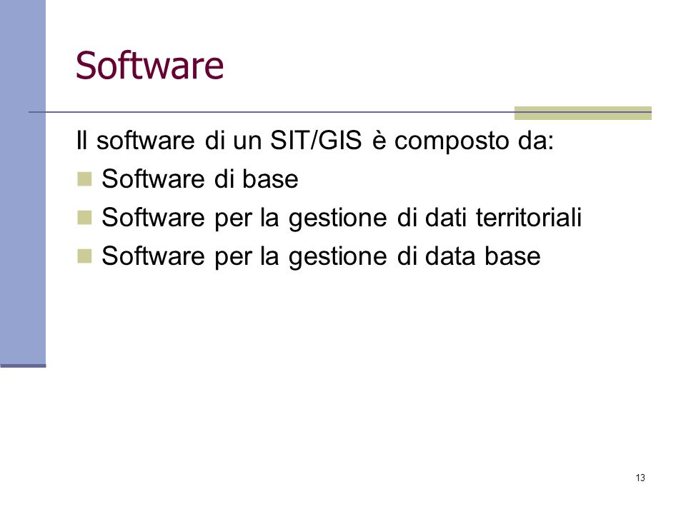 Software Il software di un SIT/GIS è composto da: Software di base