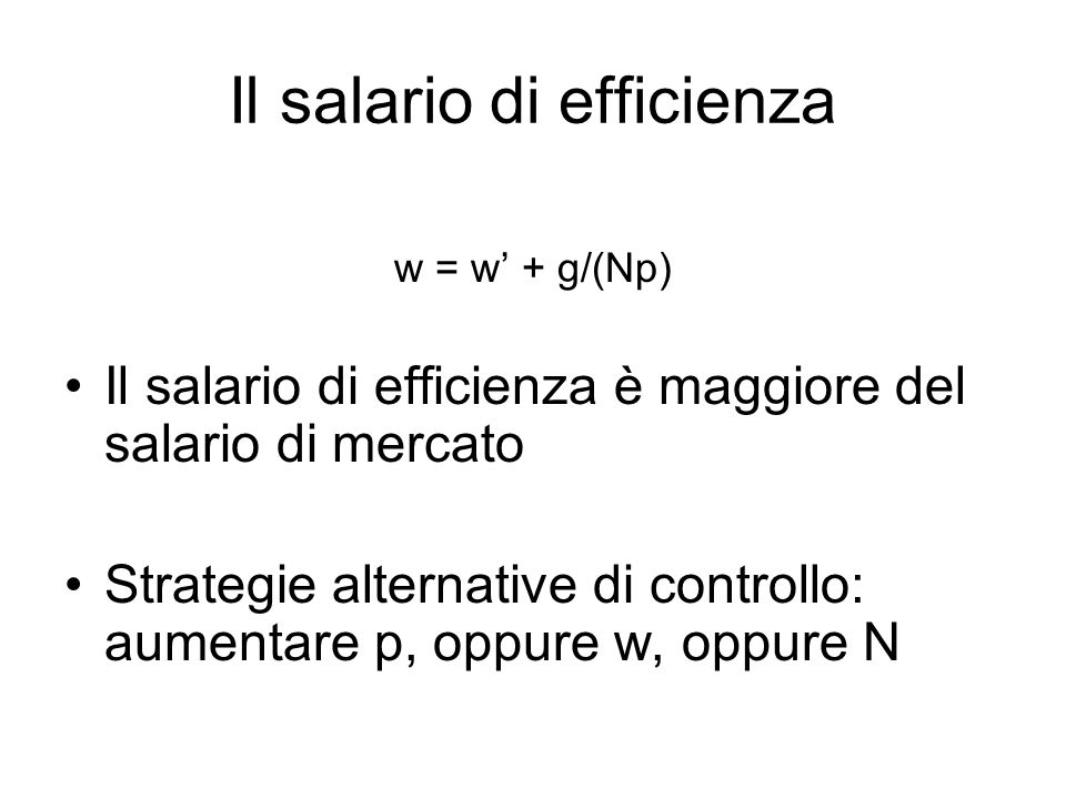 Il salario di efficienza