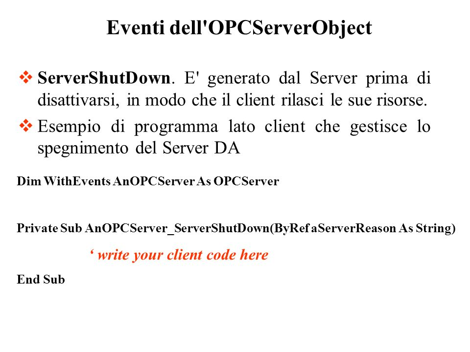 Eventi dell OPCServerObject