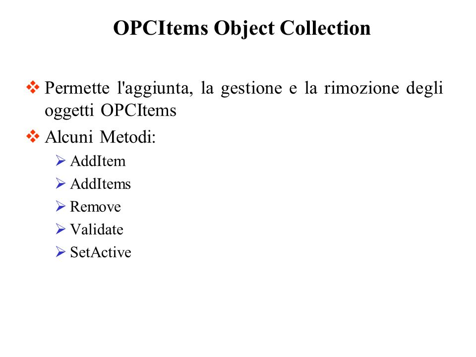 OPCItems Object Collection