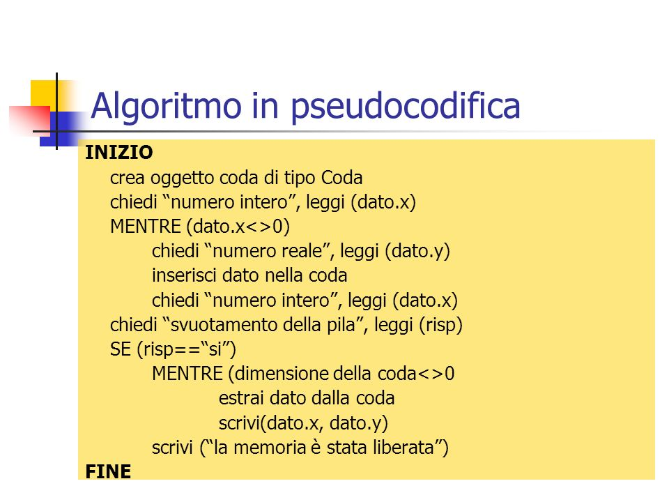 Algoritmo in pseudocodifica