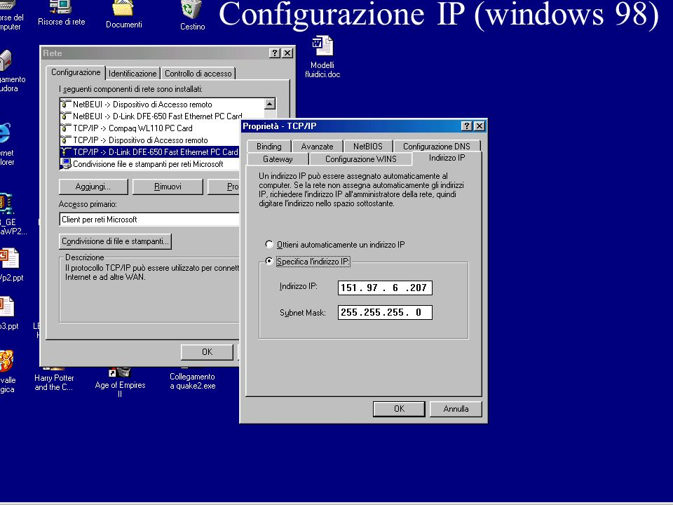 Configurazione IP (windows 98)