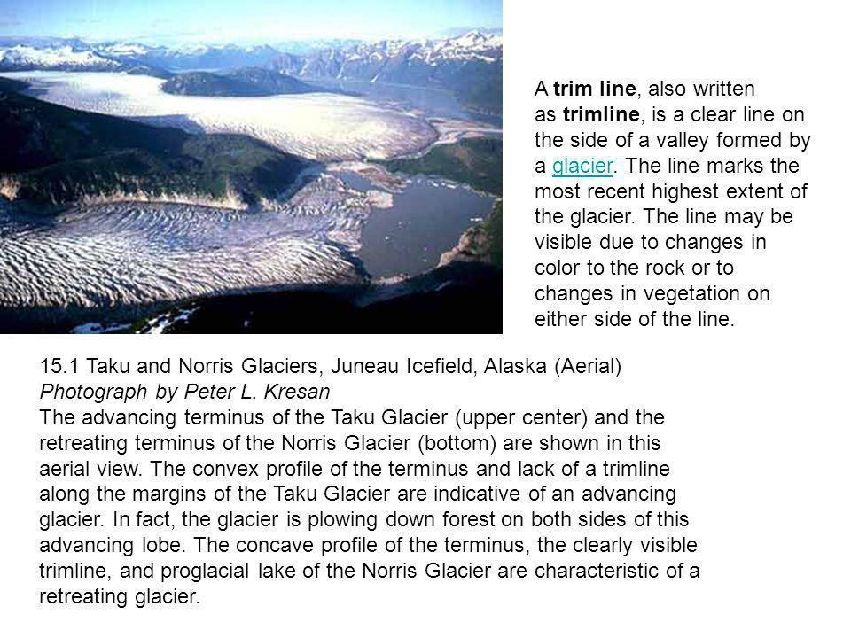 A trim line, also written as trimline, is a clear line on the side of a valley formed by a glacier. The line marks the most recent highest extent of the glacier. The line may be visible due to changes in color to the rock or to changes in vegetation on either side of the line.
