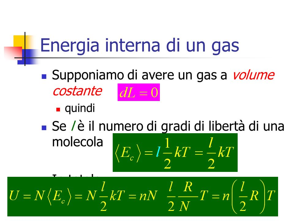 Energia interna di un gas