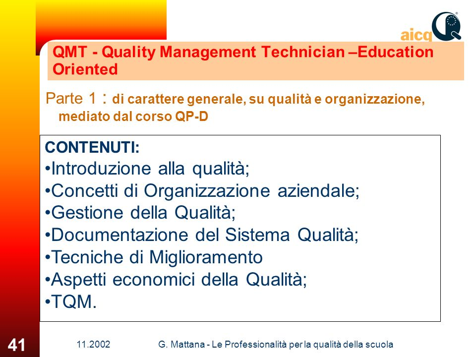 QMT - Quality Management Technician –Education Oriented