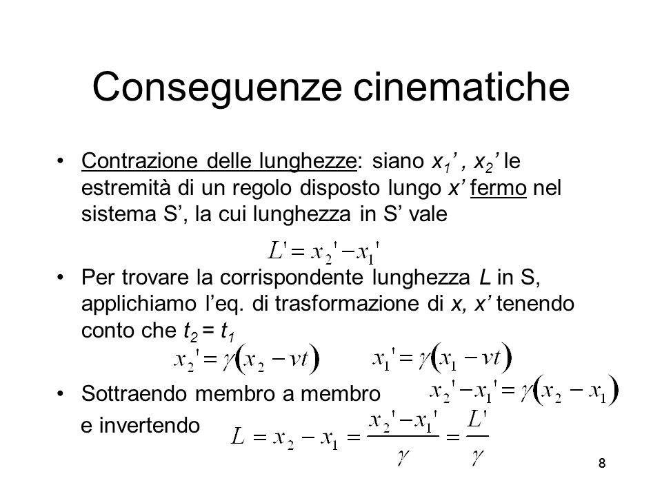 Conseguenze cinematiche