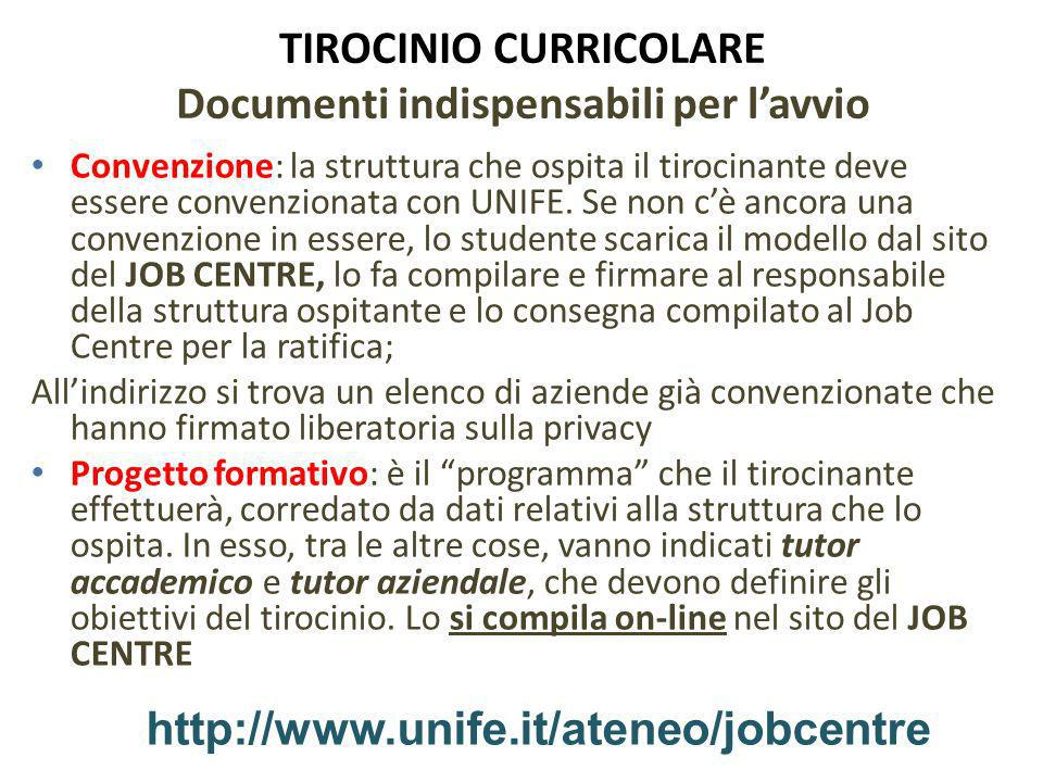 TIROCINIO CURRICOLARE Documenti indispensabili per l'avvio