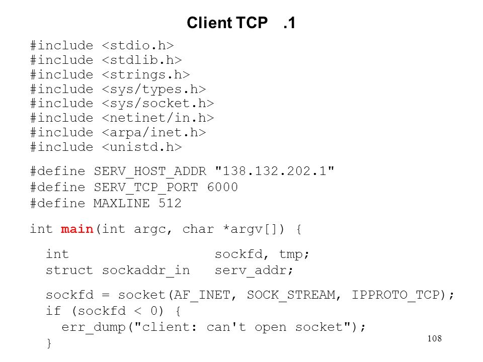 Client TCP .1 #include <stdio.h> #include <stdlib.h>
