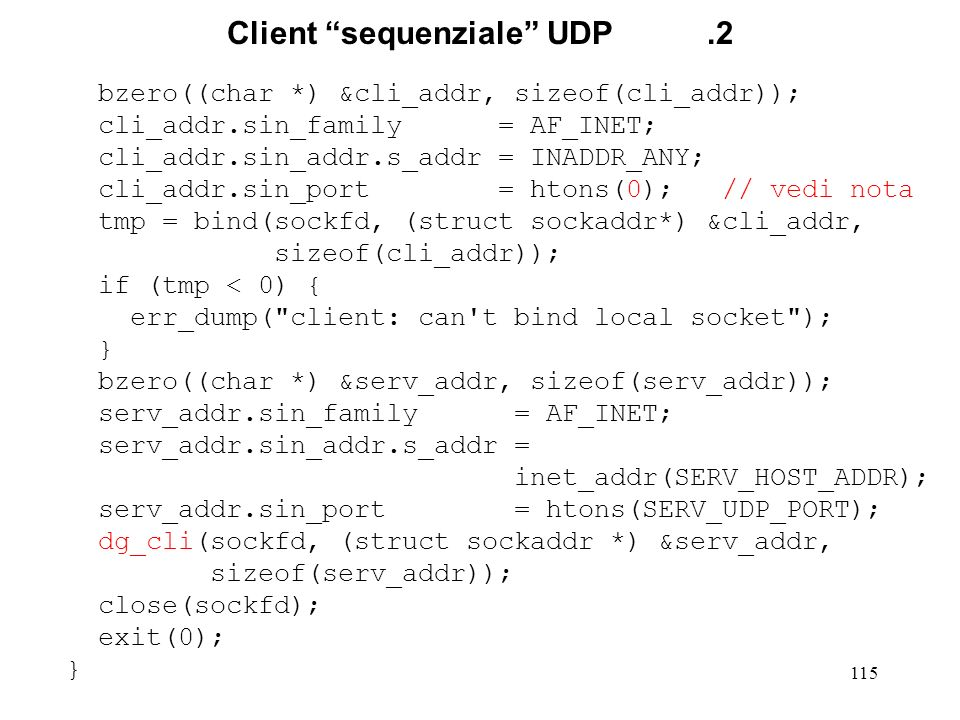 Client sequenziale UDP .2