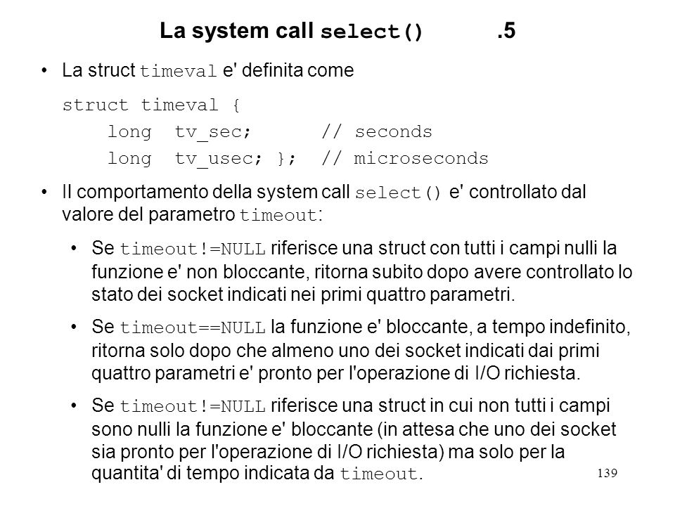 La system call select() .5