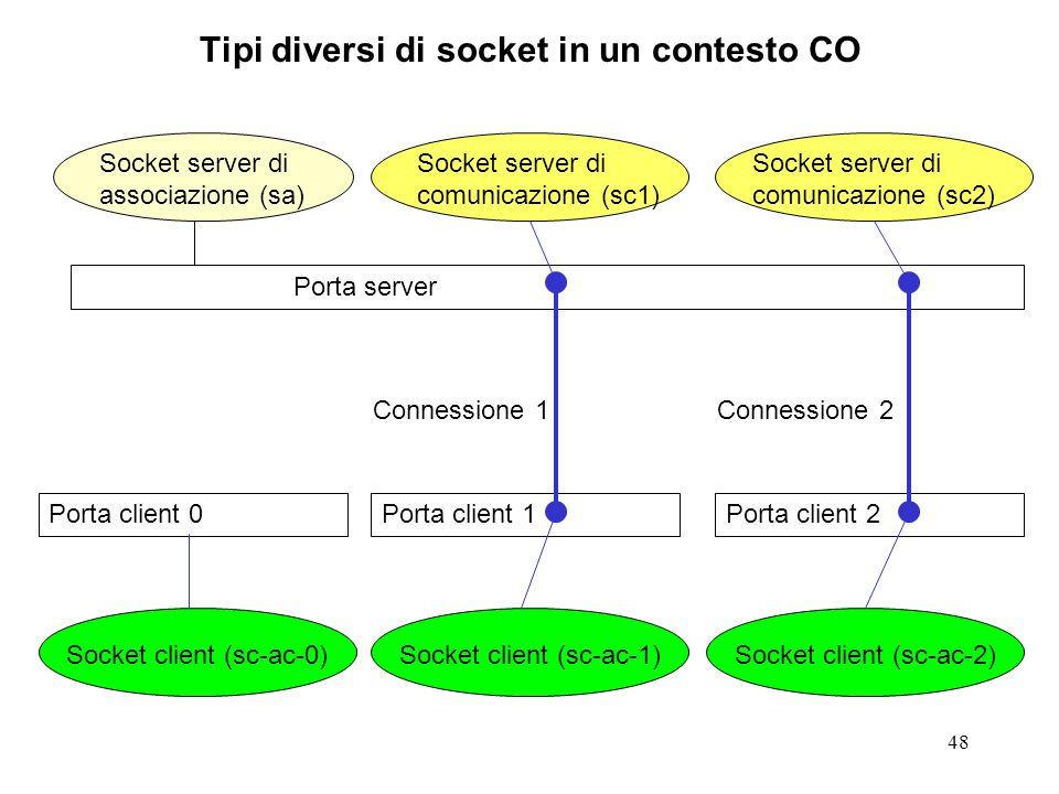 Tipi diversi di socket in un contesto CO