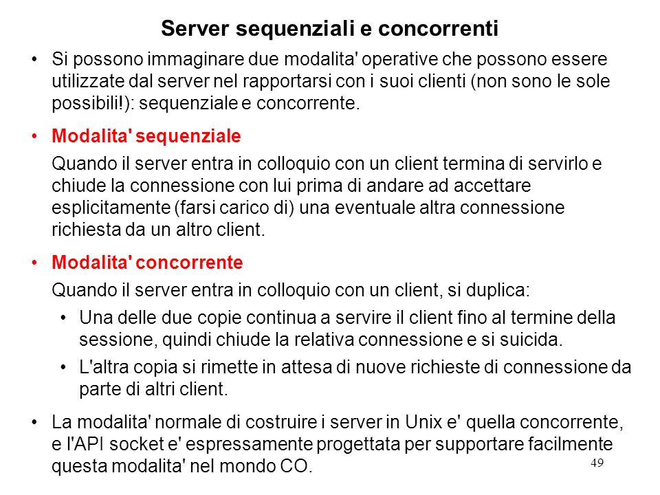Server sequenziali e concorrenti