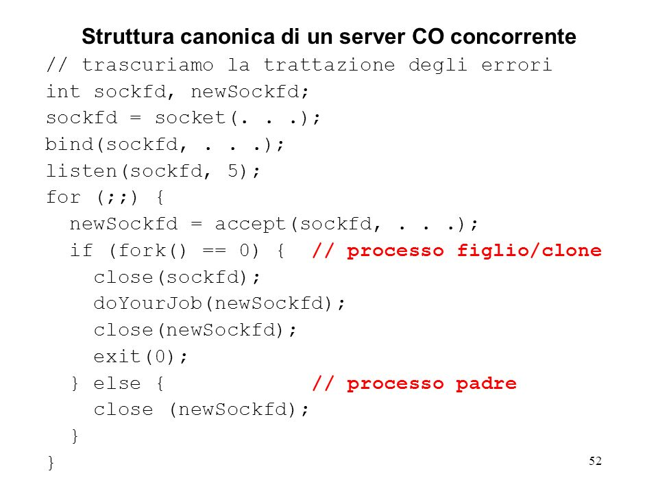 Struttura canonica di un server CO concorrente