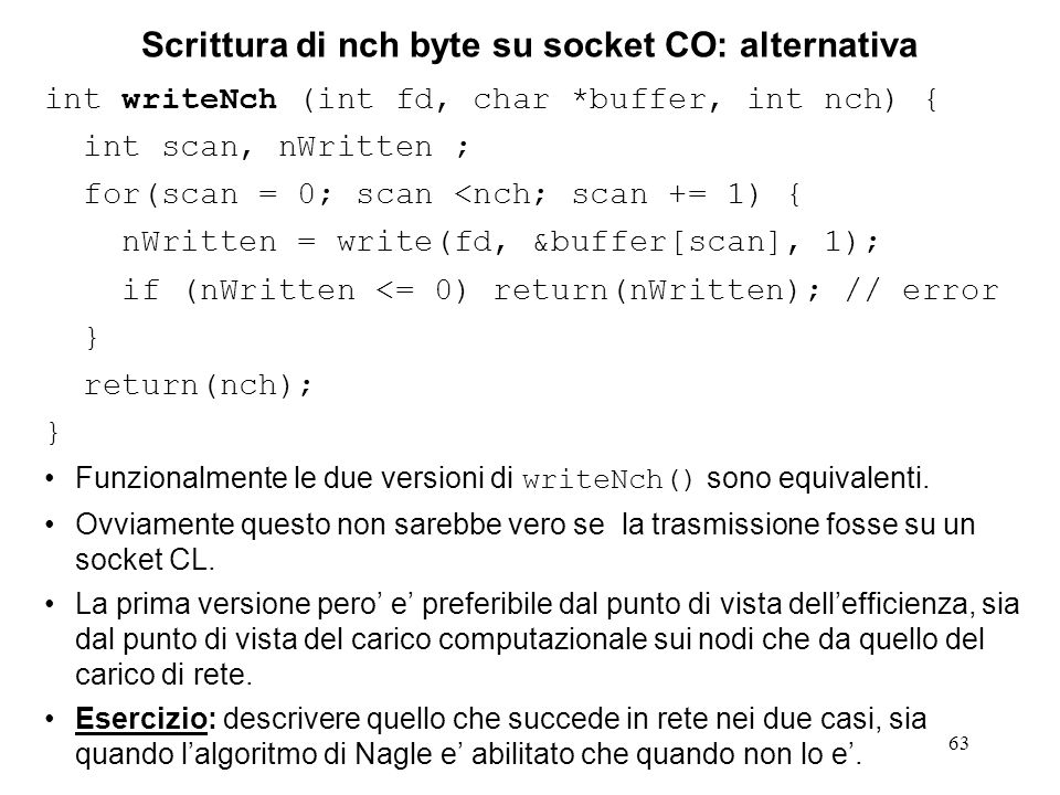 Scrittura di nch byte su socket CO: alternativa