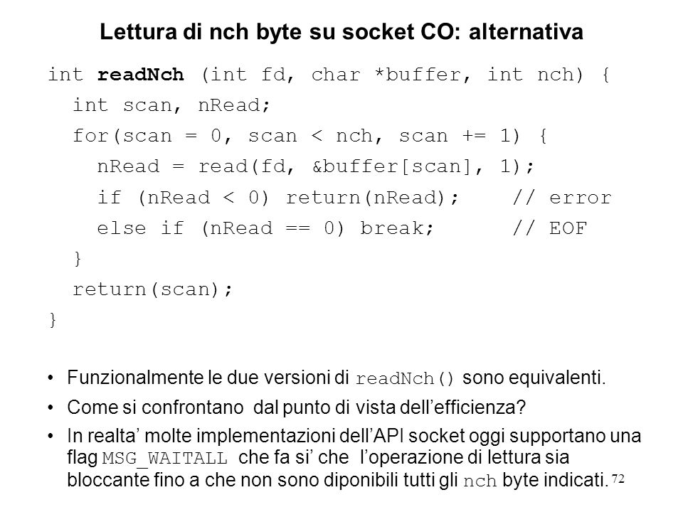 Lettura di nch byte su socket CO: alternativa