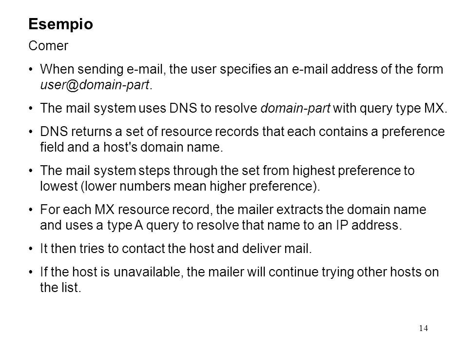 Esempio Comer. When sending e-mail, the user specifies an e-mail address of the form user@domain-part.