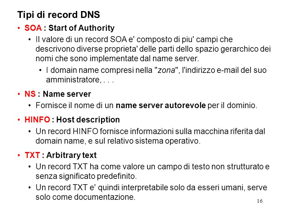 Tipi di record DNS SOA : Start of Authority