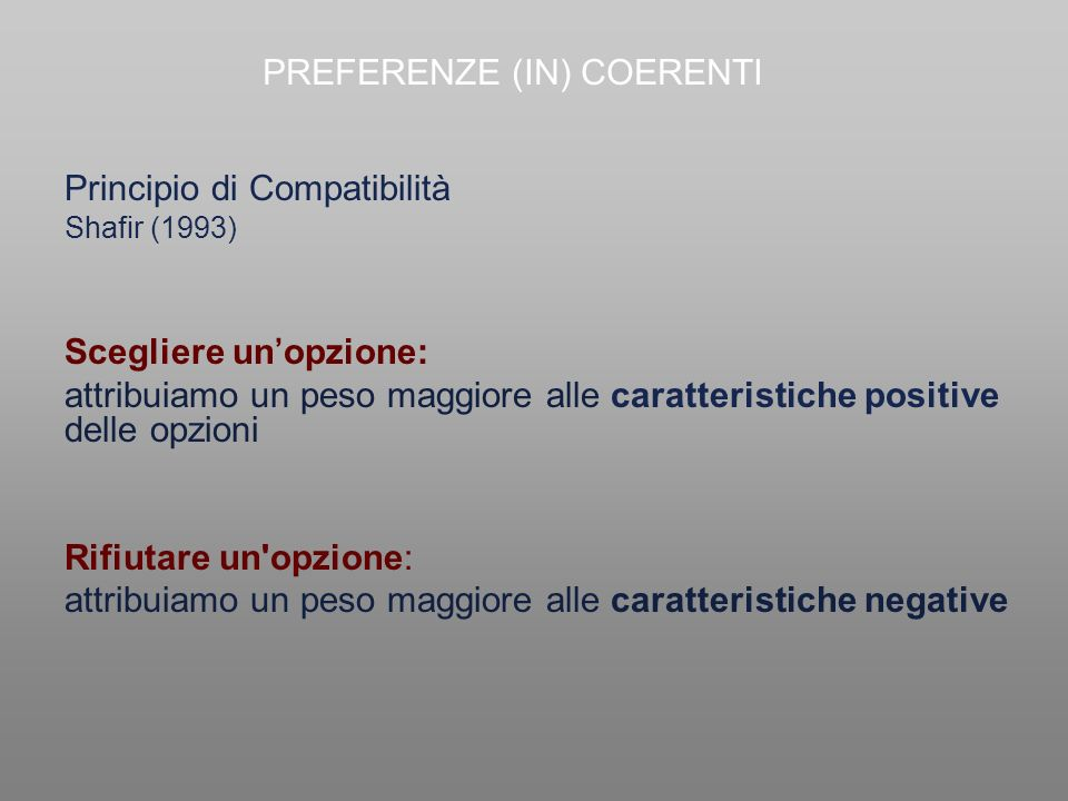 PREFERENZE (IN) COERENTI