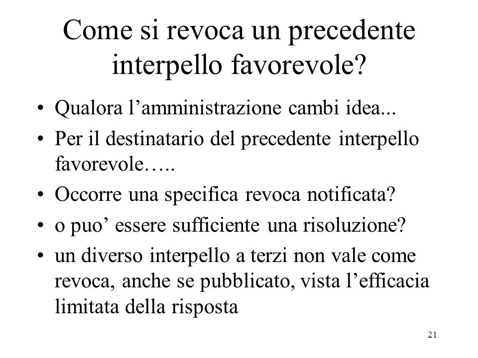 Come si revoca un precedente interpello favorevole
