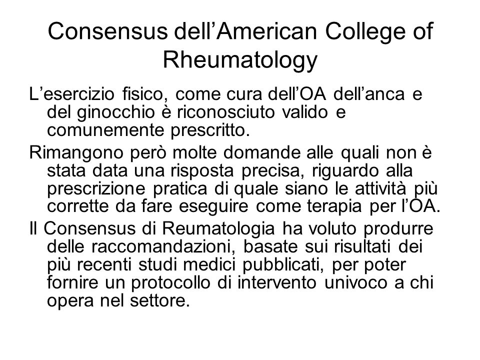 Consensus dell'American College of Rheumatology