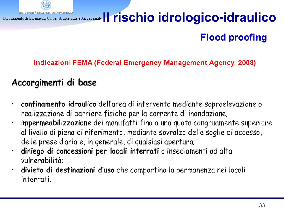 Indicazioni FEMA (Federal Emergency Management Agency, 2003)