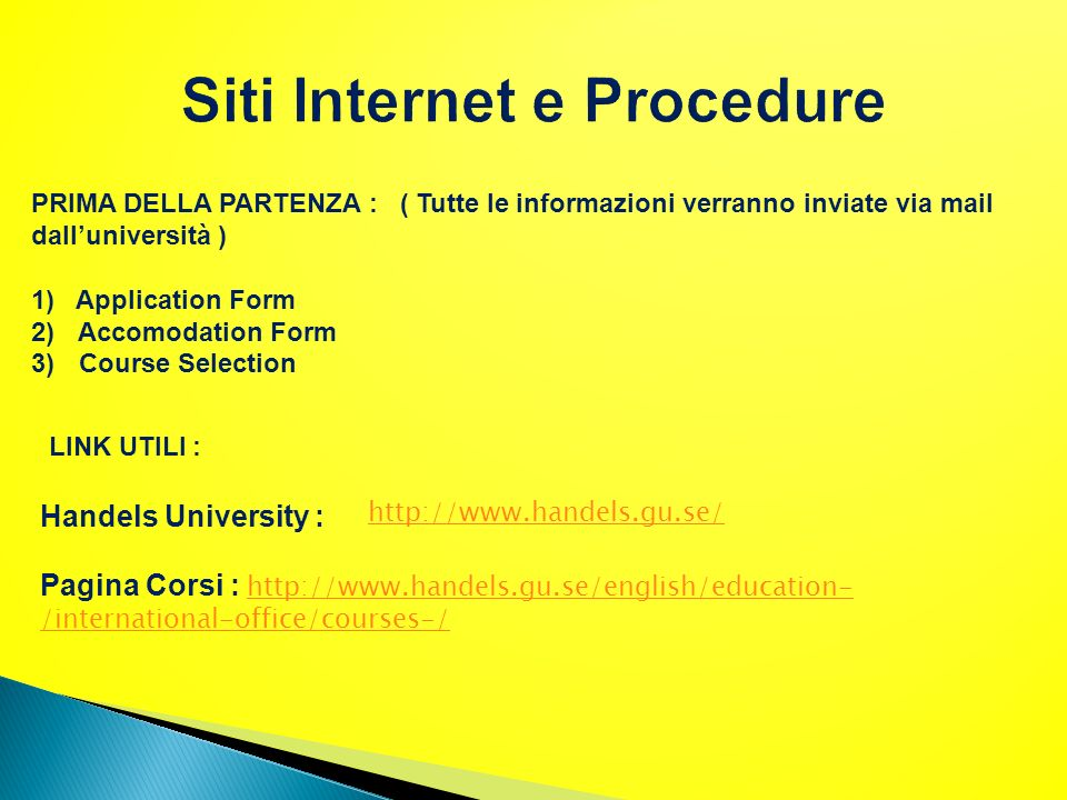 Siti Internet e Procedure