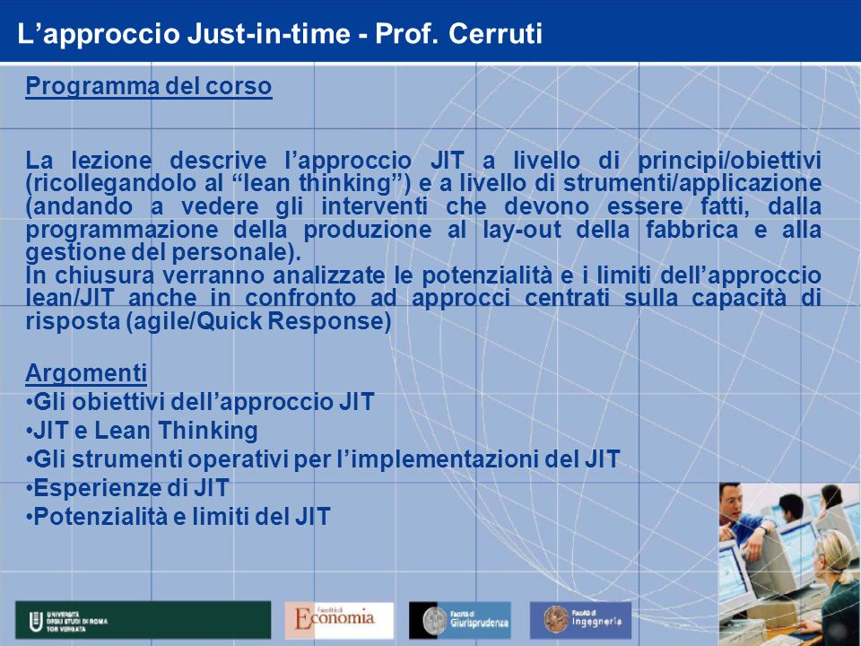 L'approccio Just-in-time - Prof. Cerruti