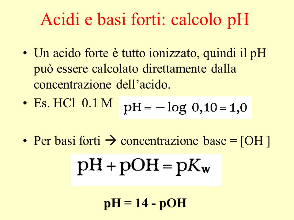 Acidi e basi forti: calcolo pH