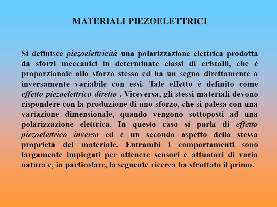 MATERIALI PIEZOELETTRICI