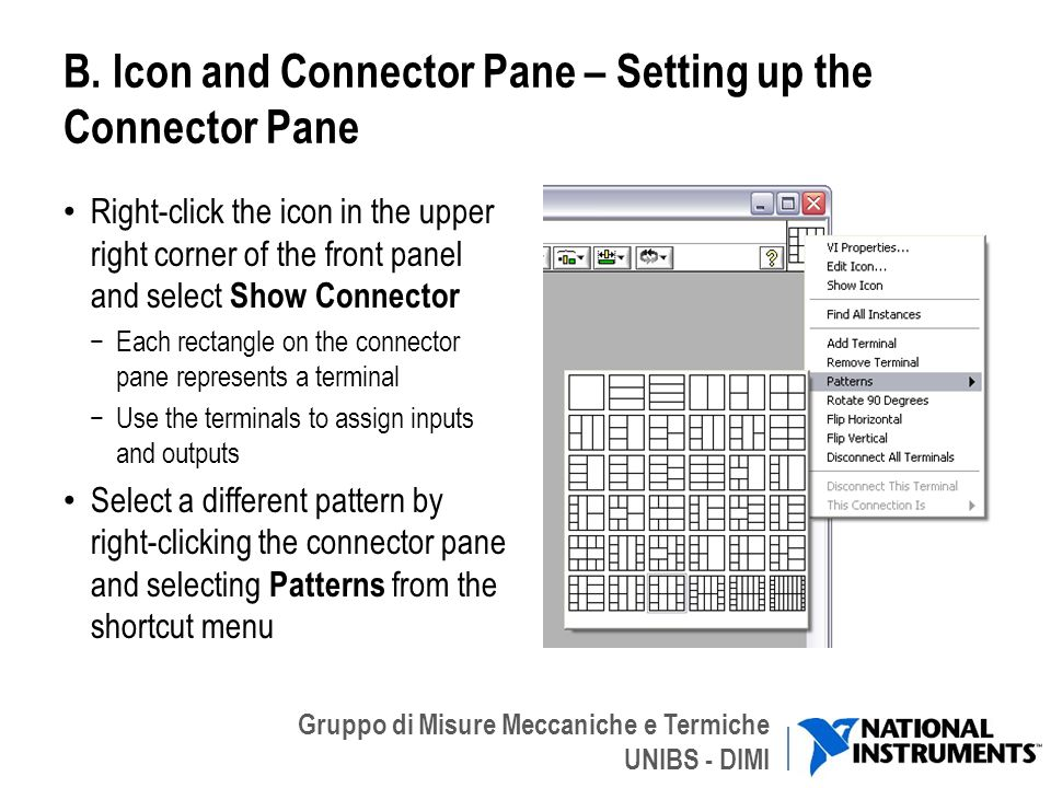 B. Icon and Connector Pane – Setting up the Connector Pane