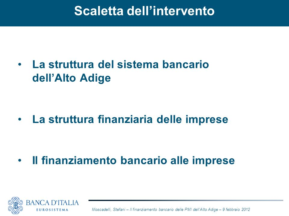 Scaletta dell'intervento