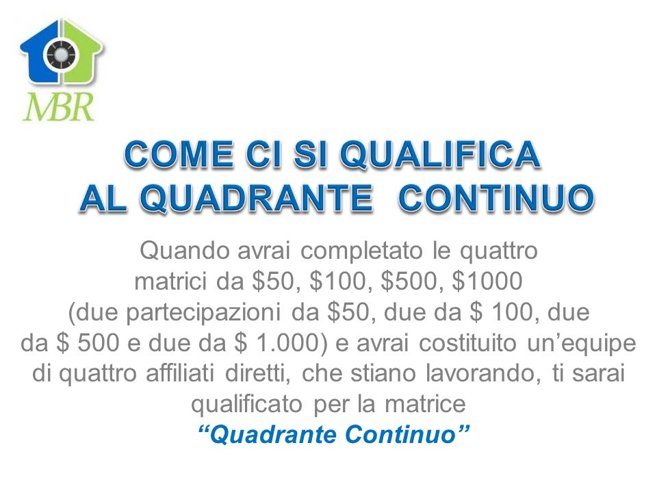 COME CI SI QUALIFICA AL QUADRANTE CONTINUO