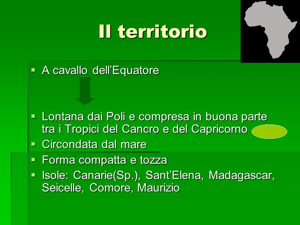 Il territorio A cavallo dell'Equatore
