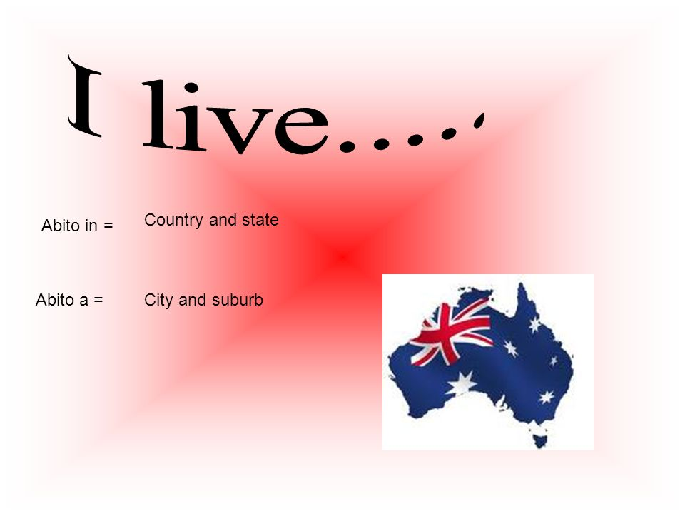 I live..... Country and state Abito in = Abito a = City and suburb