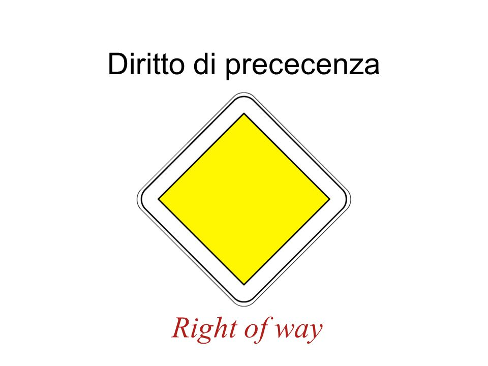 Diritto di prececenza Right of way